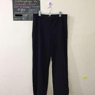 Waist 32 - Plain Black Slacks (Straight Cut)