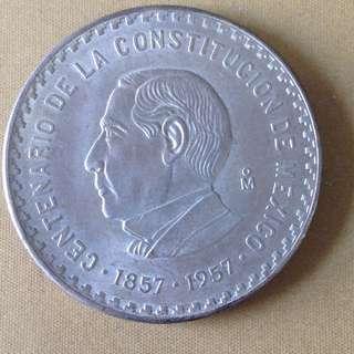 1957 Mexico 10 Pesos(UNC)