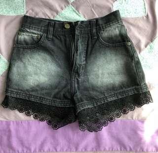 Two Toned High Waisted Lace Denim Jeans