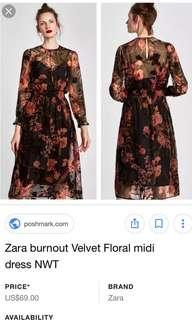 Zara burnout velvet floral midi dress