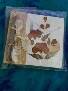 Dried Flower and handmade paper notebook with pencil