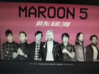 2 x standing pen A tickets for Maroon 5 concert