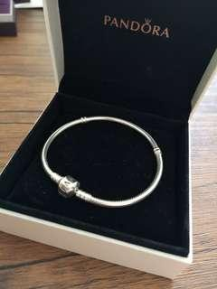 Pandora Silver Bracelet with Safety Chain Size 20