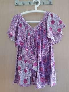 Purple top with silver line made in japan