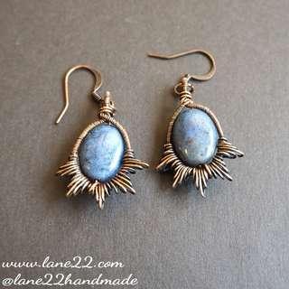 🚚 Dumortierite natural stone handmade earrings copper wire wrapped // blue oval earrings. Lane22