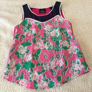 Plains and Prints Navy and Pink Floral Blouse