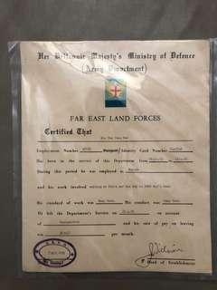 Old certificate from british land forces in singapore