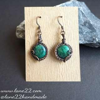 (2pairs avail)Chrysocolla copper wire wrapped handmade earrings, green round earrings, antique copper, free shipping