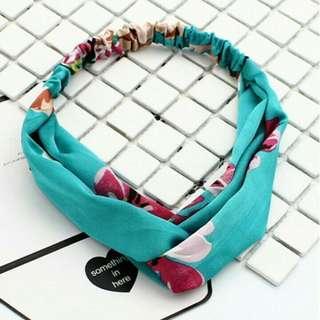 Korean turban headband scarf wrap in floral flowery design