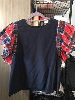 全新韓貨 深藍拼紅藍格ruffle 袖上衣