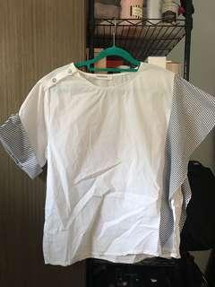 全新韓貨白色鴛鴦袖上衣