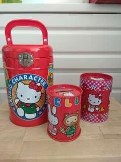 日本正版Sanrio 人物 儲物鐵罐Hello Kitty Pc 青蛙3個
