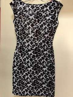 GUESS Sequin V Back Dress
