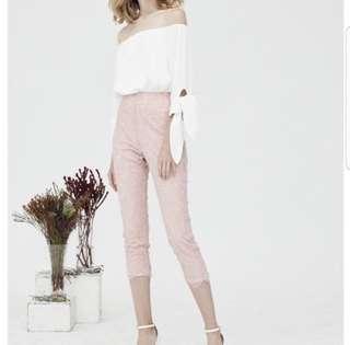 🚚 Megagamie eyelash lace pants in blush pink