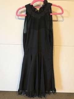 Black party dress chiffon - size 6-8