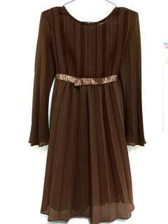 🚚 咖啡大地色簡約優雅氣質洋裝