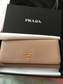 100% authentic Prada Saffiano wallet, cameo color