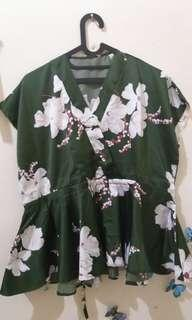 Fresh Green Flowery Blouse
