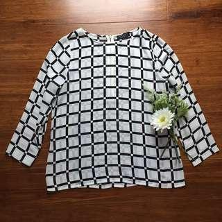 Zalora Black and White Office blouse