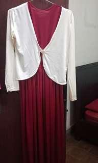 Baju panjang merah maroon