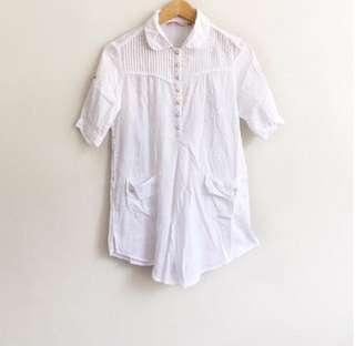 Korean inspired collared white long blouse