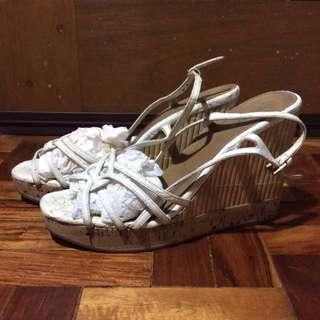 Prada Cork Wedge Sandals in White sz 40.5 40 1/2, 9 9.5 10 10.5