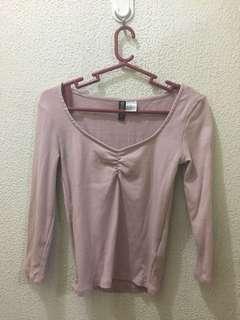 H&M millennial/blush pink sweetheart top