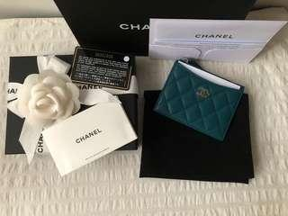 [New w Receipt] Authentic Chanel Caviar Zip O Card Case Holder Coin Purse