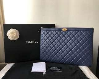 b6e3b1dec6c1 Unused w Copy Receipt Authentic Chanel Large Boy O Case Pouch Clutch with  GHW