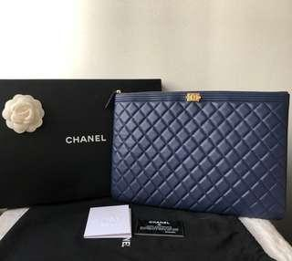 Unused w Copy Receipt Authentic Chanel Large Boy O Case Pouch Clutch with GHW