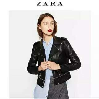 Zara Cropped Leather Jacket