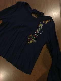 Navy Embroidery Blouse with Keyhole back