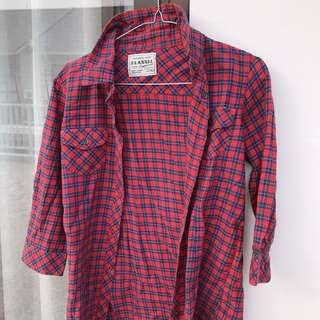 Authentic Flanner Deep Red / Tartan Kemeja kotak