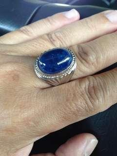Blue stone with silver ring
