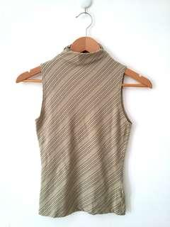 Diagonal Gliter Stripe High Neck