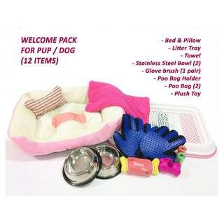 FREE Delivery - Pup/ Dog Welcome pack -Accessories Set (bowl/towel/bed/litter tray etc)