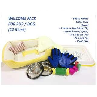 FREE Delivery - Pup / Dog Welcome Pack (Accessories / bowl / toy / bed / litter tray)