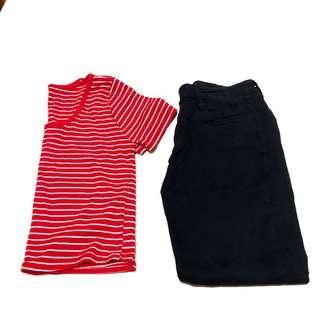 🚚 【整套】條紋短版+高腰緊身鉛筆褲