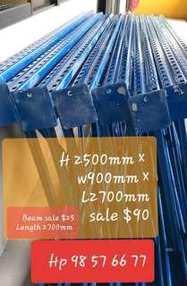 SALE● USE● HEAVY DUTY  RACKING  VERTICAL  FRAME  SALE  $90/ PER   HEIGHT 2500MM × WIDTH 900MM BEAM LENGTH 2450MM SALE $25/