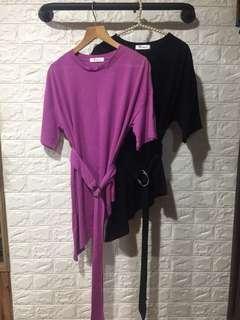 🚚 素面斜下擺附腰帶上衣-粉紫色
