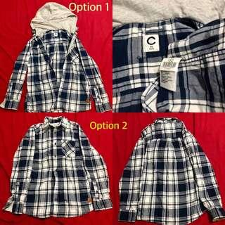 Bnew plaid polo shirt with or without hood Medium frame
