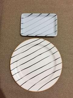 1 Dinner plate & sushi plate stripes design