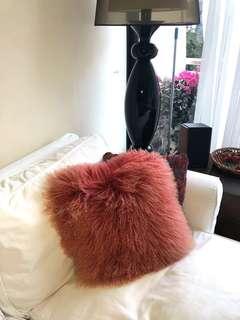 Genuine sheepskin cushion