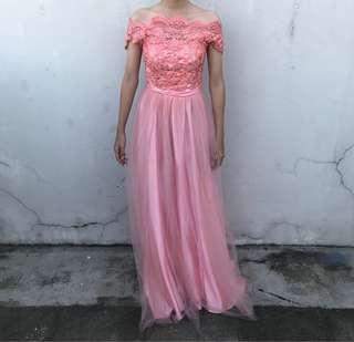 Pink Laced Off Shoulder Long Gown