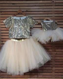 Mom and baby gold sequin tutu