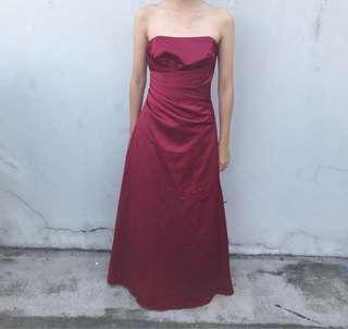 Maroon Tube Long Gown