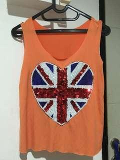 Tanktop orange motif inggris