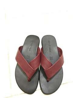 Original Andrew Feroz Maroon Leather Sandal Kulit Pria