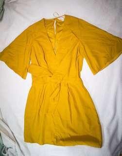 Miss Selfridge Tie Dress - Yellow