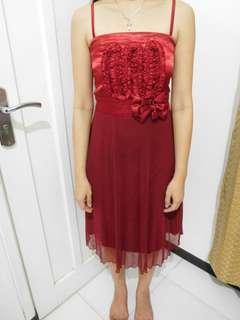 Dress Party Merah Maroon